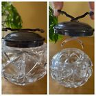 The SOS Silver Plated Glass Sugar Cube Bowl Jar Attached Tongs Pascalls Patents