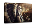 Native American Decor Wall Art Beautiful Indian Girl with Feather Hat Painting 1