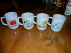 4 Vintage Fire King Snoopy Coffee Mug White Milk Glass D handles