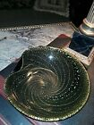 MURANO Art Glass BOWL GREEN AND GOLD 9  DIAMETER CIRCA 1950