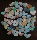 50 Beach Glass Hearts small to medium ALL MURANO ART GLASS Great Colors