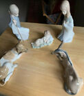 Mint Condition Lladro 5pc Nativity Scene Joseph Mary Jesus Cow  Donkey