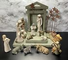Willow Tree Nativity figures 19 pcs Set Creche Three Wisemen Animals Stars etc
