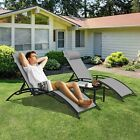 3pcs Pool Chaise Lounge Chair Outdoor Patio Furniture Reclining Chair Adjustable