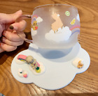 Starbucks Rainbow Cold Color Changing Music Raccoon Glass Cup Alpaca Animal Cup