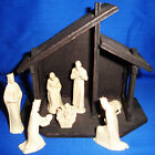 Vintage Wood Christmas Nativity Set Creche Holy Family Italy Plastic Figures MCM