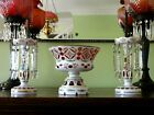 Bohemian Hand Painted  Cranberry Overlay Cut Glass Lustres Bowl Garniture Set