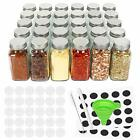 30 Pcs Glass Spice Jars with Spice Labels 6oz Empty Square Spice Bottles with
