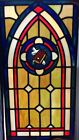 Vintage Stained Glass Window with Cross and Bible From Old Church 15 X 29