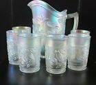 IMPERIAL GLASS IRIDESCENT FROSTED 7 PIECE PITCHER  TUMBLERS BIRDS FLOWERS NICE