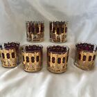 CULVER CRANBERRY AZURE SCROLL DOUBLE OLD FASHIONED GLASSES SET OF SIX REDUCED