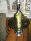 Vtg Hollywood Regency MCM Green Brown Glass Globe 3 Way Lamp Night Lite Diffuser