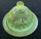 NORTHWOOD VASELINE GLASS OPALESCENT W GOLD JEWELS  FLOWERS COVERED BUTTER DISH