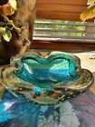 Vintage blue gold Murano glass Bullicante controlled bubble ashtray bowl