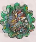 VNTG Murano Green Art Glass Bowl Cased Silver Aventurina End of Day L03 W17