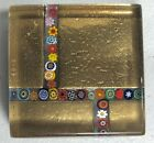 Murano Art Glass Millefiori Square Paperweight Gold Foil Italian