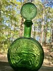 Empoli Bullfighting green glass Decanter stopper Made In Italy