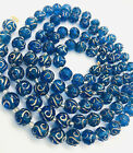 Beautiful LONG Royal Blue  Gold Enamel Glass Beaded Necklace Vintage Jewelry