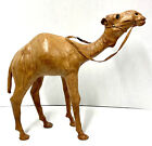 Vintage Leather Camel Egypt Brown Wrapped Statue Figurine Decor DETAILED LARGE