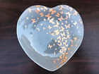 Annieglass Heart Shaped Frosted Glass Dish with Gold Butterflies 7 Wide Signed