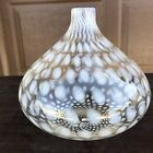 Beautiful Onion Shape Art Glass Opalescent Coin Dot Vase Hand Blown