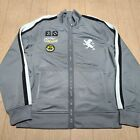 Express Mens Gray Full Zip Track Jacket Size Medium M Grey Embroidered