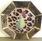 Gorgeous Decorative Decoupage Glass Plate Green Pear with Animal Print Derian