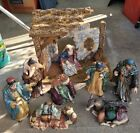 Large Xmas Nativity Set 10 Piece Porcelain Hand Painted OWell Novelty Co