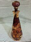 Vintage Czech Bohemian Amber Glass Decanter With Stopper Excellent