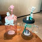 Starbucks Sakura Cat Glass Sippy Straw Cup Bottle w Cherry blossoms Bear Topper