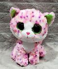 Ty Beanie Boo Sophie Neon Pink Purple Spotted Cat Green Eyes Plush Stuffed Toy