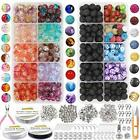 878Pcs Lava Beads Chakra Beads Glass Crackle Beads Kit with Spacer Beads Jump
