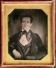 Very early odd size daguerreotype man with wire glasses striped vest silk cravat