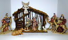 LARGE Midwest 11 Pc Porcelain Hand Painted 9 Figurine Nativity Scene Set