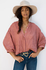NWT Anthropologie Pilcro  The Letterpress Pink Rose Faustine Embroidered Top M