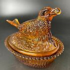 Vintage Honey Amber Glass Robin Bird on Nest Covered Dish Berry in Mouth