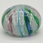 Murano Art Glass Paperweight Latticino Ribbon Swirl