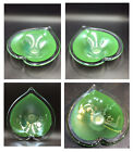 Murano Glass Heart Shaped Dish Emerald Green Encased In Clear Glass