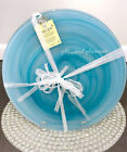 AKCAM TURKISH Teal Blue Matte Swirl Frosted Glass Dinner Plates set of 4 New