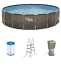Summer Waves Elite 18 x 48 Above Ground Swimming Pool with Pump Filter Ladder