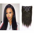 Remy Human Hair Clip In Hair Extensions Yaki Straight Full Head 8A Grade Natural