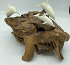 JOHN PERRY Sculpture 3 DOLPHINS Family Large BURL WOOD Fathers Day Gift