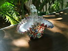 Victorian HAND BLOWN End of Day Cased ART GLASS BASKET Thorn Handle Spatter