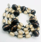 Murano Venetian Glass Beaded Necklace Faux Pearls 34 inches Vintage Jewelry