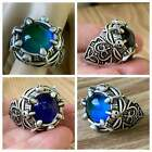 SKULL  CLAW MOOD RING GOTH MEN WOMEN ANTIQUE SILVER COLOR CHANGING GLASS STONE