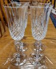 SET OF 4 CLEAR CUT GLASS CRYSTAL CHAMPAGNE FLUTES