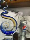 STUNNING SIGNED MURANO GLASSWARE MODERN ABSTRACT BLUE AND YELLOW SCULPTURE NICE