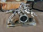 Metal Horse Sculpture on Crystal Glass Base Desk Clock Thermometer by Bluestone