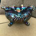 Northwood Carnival Glass Footed Ruffled Bowl Grape and Cable 10 Amethyst