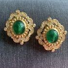 CHRISTIAN DIOR Glass Cabochon Emerald Green and Crystal earrings